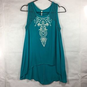 Boho Embroidered Front Tank. Brand New with Tag